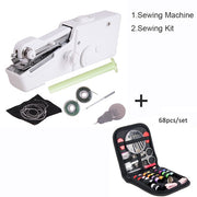 Anpro Handheld Electric Sewing Machine Mini Portable Household Stitch Machine for Cordless Clothes Fabrics Travel Stitching Tool