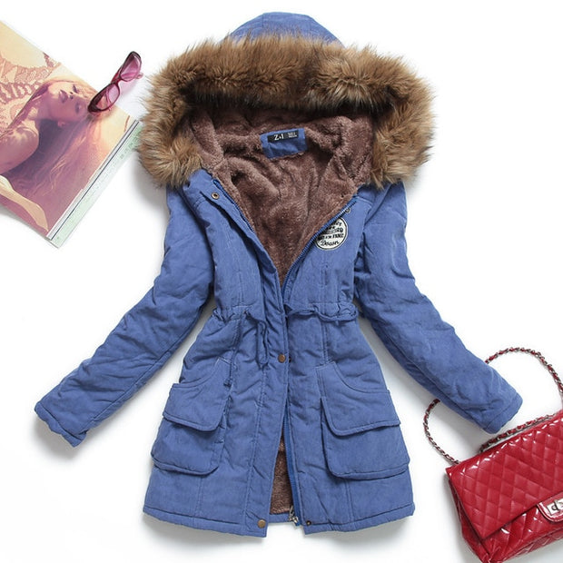 New winter women jacket For medium-long thicken plus size 4XL outwear hooded coat and  cotton-padded jacket overcoat - Roshyshine