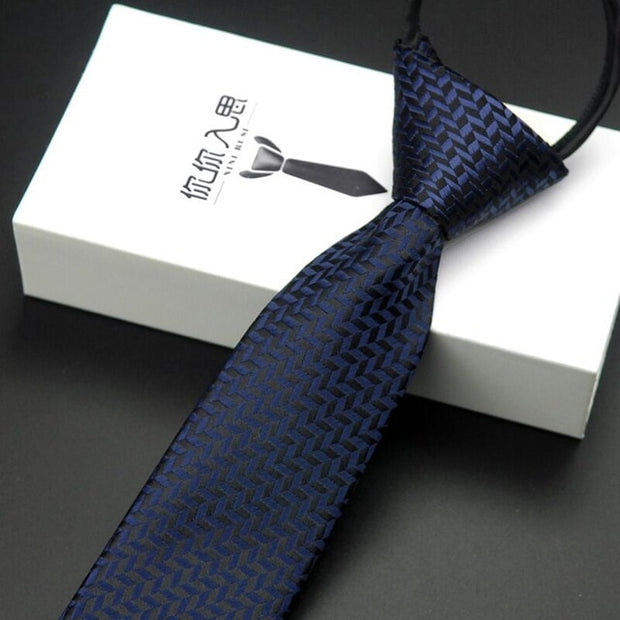 Men's neckties zipper ties arrow-type polyester silk tie - Roshyshine