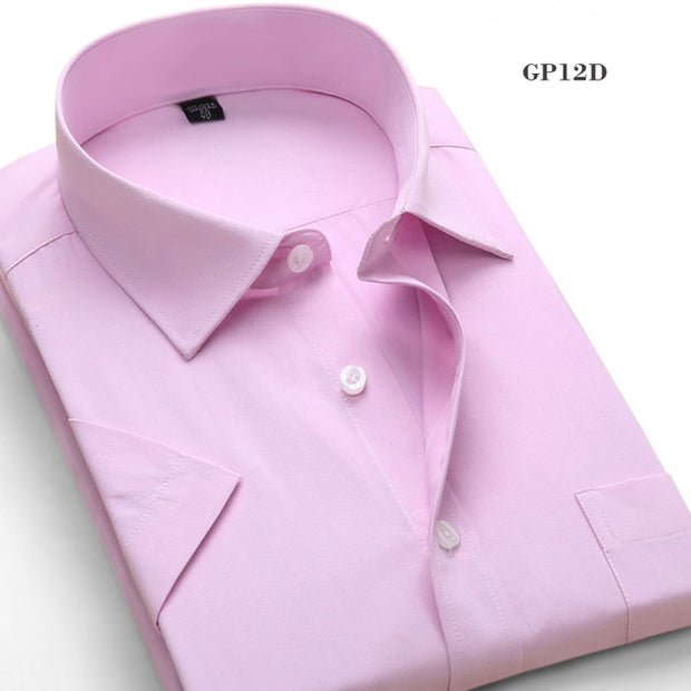 Solid Color Short Sleeve Men's Casual Shirts Men's Formal Business Dress Shirts Classic Style Work Wear - Roshyshine