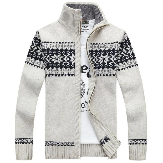 Christmas Sweater Winter New Pullover Snowflake Pattern Men 's Leisure Cardigan Fashion Collar Male Thickening Wool Jacket - Roshyshine