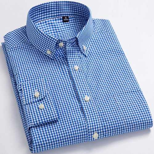 Men's Standard-Fit Long-Sleeve Micro-Check Shirt Patch Pocket Thin Soft 100% Cotton White/red Lines Checked Plaid Dress Shirt - Roshyshine
