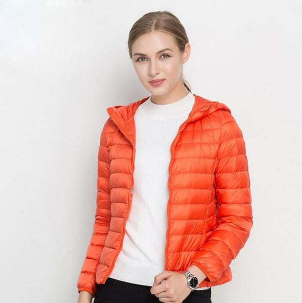 Winter Women Ultra Light Down Jacket White Duck Down Hooded Jackets Long Sleeve Warm Coat Parka Female Solid Portable Outwear - Roshyshine