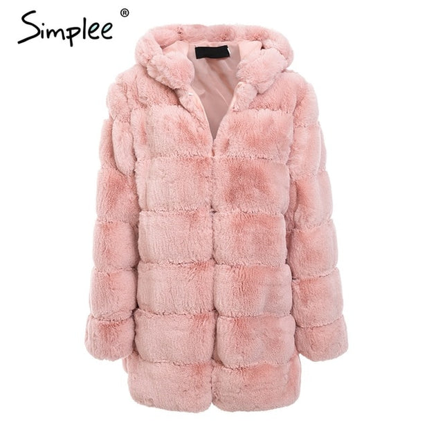 Simplee Vintage fluffy hoodie faux fur coat women Winter grey jacket coat female Plus size warm long casual outerwear overcoat - Roshyshine