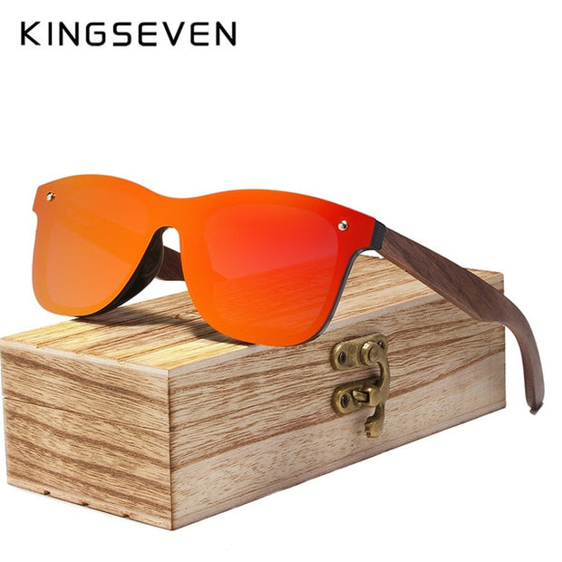 KINGSEVEN 2019 Mens Sunglasses Polarized Walnut Wood Mirror Lens Sun Glasses Women Brand Design Colorful Shades Handmade - Roshyshine