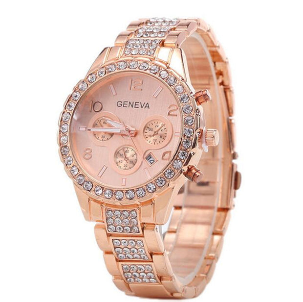 Gold Geneva Stainless Steel Quartz Watch for Women - Roshyshine