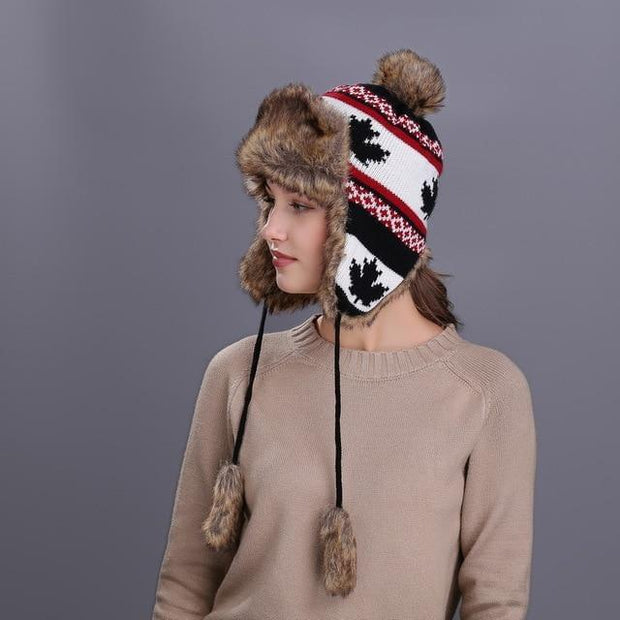 BUTTERMERE Red Russian Ushanka Hat Female Winter Warm Earflaps Fur Bomber Hats Caps Women Maple Leaf Christmas Beanies Pompom - Roshyshine