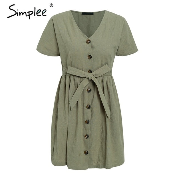 Simplee Vintage button women dress shirt V neck short sleeve cotton linen short summer dresses Casual korean vestidos 2019 festa - Roshyshine