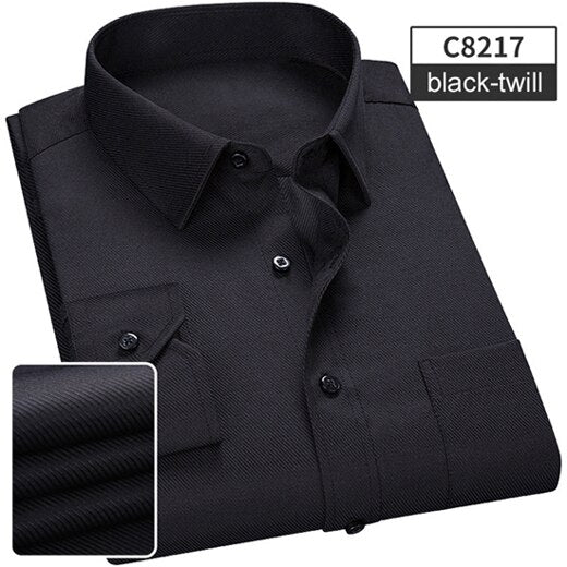 NIGRITY 2019 Spring New Men's Casual Long Sleeve Shirt Fashion Classic Comfortable Business Shirt Male Shirt Plus Size XS-6XL - Roshyshine