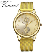 Women Silver Gold Mesh Watch Unique Design  Casual Quartz - Roshyshine