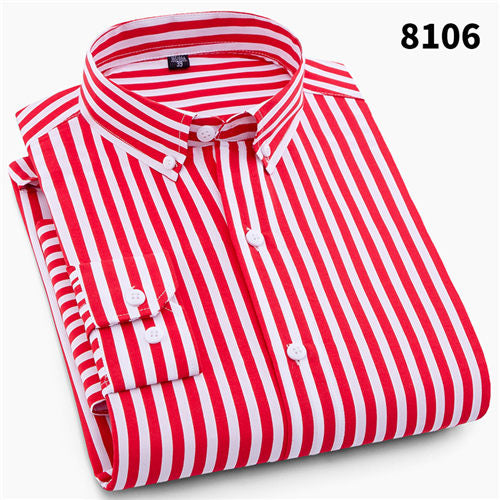 Men Striped Casual Long Sleeve Shirts With Slim Fit For Business/Social Casual - Roshyshine