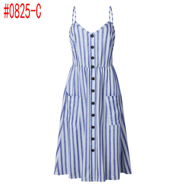 Summer Women Dress 2019 Vintage Sexy Bohemian Floral Tunic Beach Dress Sundress Pocket Red White Dress Striped Female Brand Ali9 - Roshyshine
