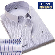 DUDALINA 2019 Men Casual Long Sleeved Solid shirt Slim Fit Male Social Business Dress Shirt Pocket Men Clothing Striped - Roshyshine