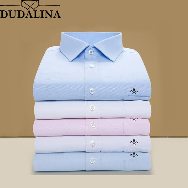 DUDALINA 2019 Men Shirt Plus Size Pocket Long Sleeved Classical Male Shirts Formal Business Shirt Man Embroidery Logo S-9XL - Roshyshine