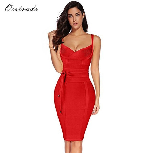 Ocstrade Women Bandage Dress 2019 Rayon Sleeveless Summer New Arrivals Sexy Deep v Neck Vestido Bodycon Bandage Dress Club Party - Roshyshine