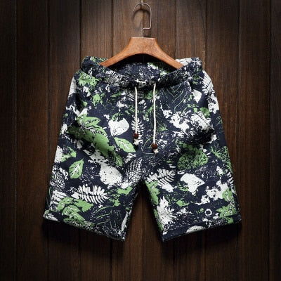 Men's beach shorts personality printing 2019 summer thin section breathable comfort casual men's linen shorts large size M-5XL - Roshyshine