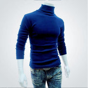 2019 New Autumn Winter Men'S Sweater Men'S Turtleneck Solid Color Casual Sweater Men's Slim Fit Brand Knitted Pullovers - Roshyshine