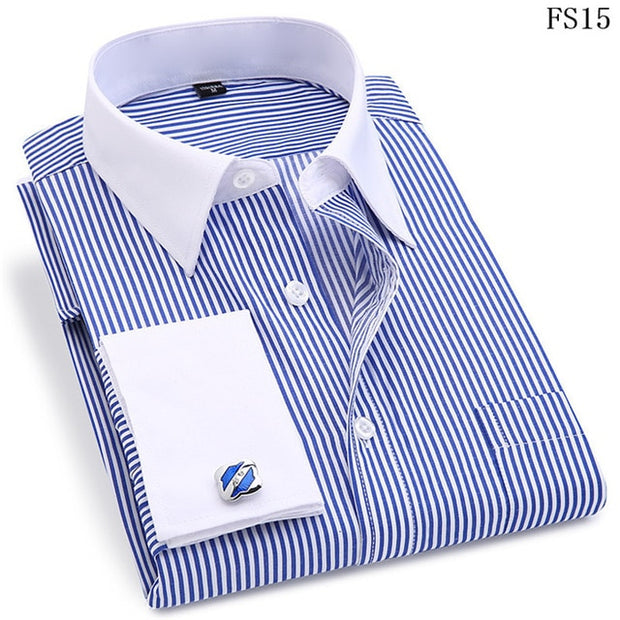 High Quality Striped Men French Cufflinks Casual Dress Shirts Long Sleeved White Collar Design Style Wedding Tuxedo Shirt 6XL - Roshyshine