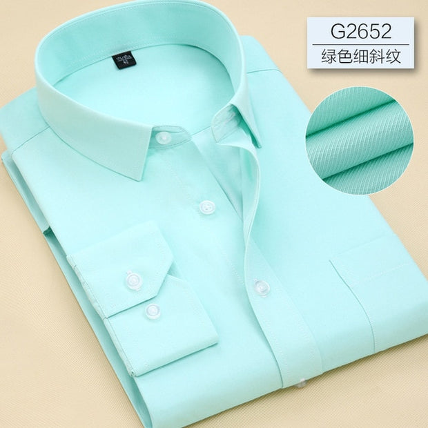 Men Long Sleeve Shirt 2019 Spring New Brand Solid Color Business Office Formal Men Dress Shirt Plus Size Male Shirt Chemise 7XL - Roshyshine