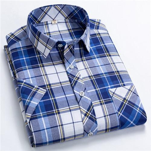 Classic Plaid short sleeved leisure fashion shirts for men slim fit square collar Summer soft causalmale tops with front pocket - Roshyshine