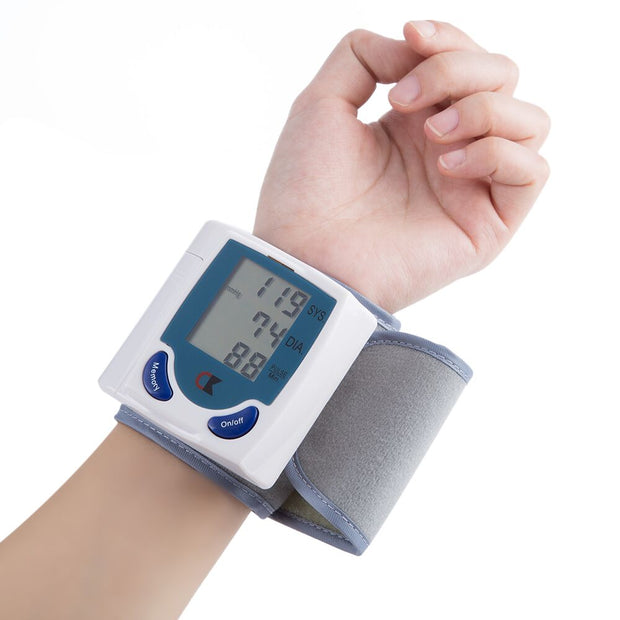 Household Medical Wrist Blood Pressure Monitor LCD Digital Tonometer Automatic Sphygmomanometer Tensiometer Bp Heart Rate Meter - Roshyshine