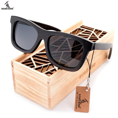 BOBO BIRD Original Wooden Men Sunglasses Casual Polarized And Women Sun Glasses Black Framed With Gift Box - Roshyshine