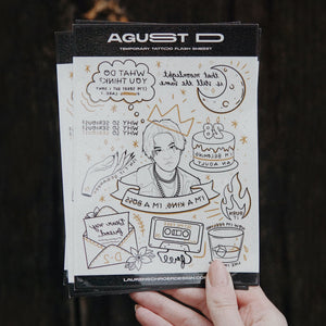 AGUST D / D-2 Tattoo Flash Temporary Tattoo Sheet