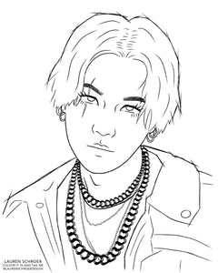 FREE Agust D Colouring Page