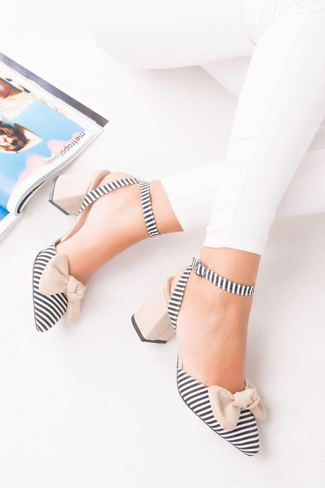 Women's Ankle Strap Bow-tie Heeled Shoes