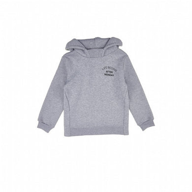 Girl's Hooded Embroidered Grey Melange Sweatshirt