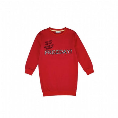 Girl's Printed Embroidery Detail Red Sweatshirt