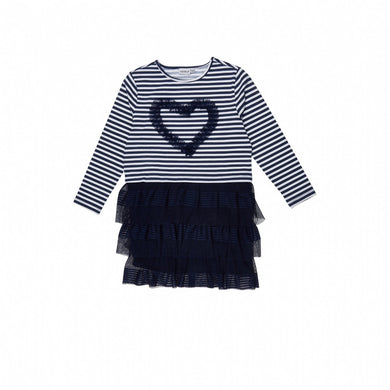 Girl's Long Sleeves Tulle White Striped Navy Blue Dress