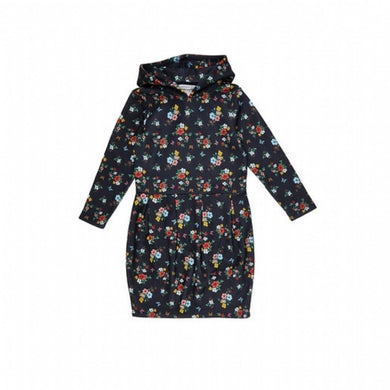 Girl's Hooded Floral Printed Dress