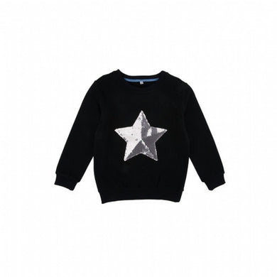 Girl's Sequin Detail Black Sweatshirt