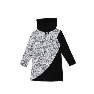 Girl's Collar Detail Printed Black Tunic