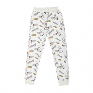 Girl's Rabbit Print White Sweatpants