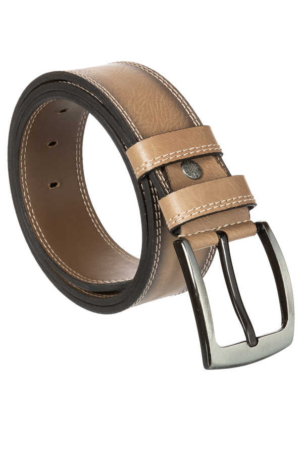 Men's Stitched Beige Artificial Leather Sport Belt- 4.5 cm