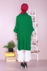 Women's Turtleneck Green Tunic