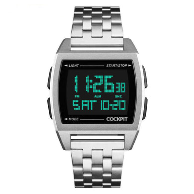 Men's Silver Digital Watch