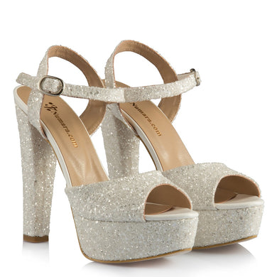 Women's Glitter Off-White Bridal Heeled Shoes
