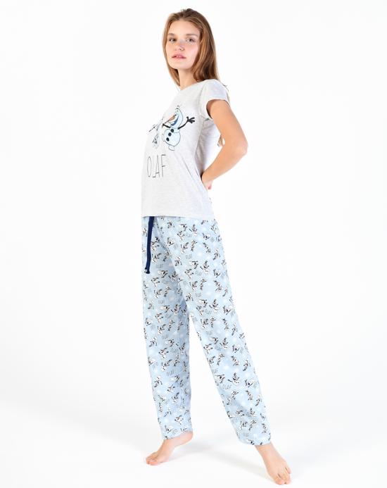 Women's Printed Blue Pajama Set