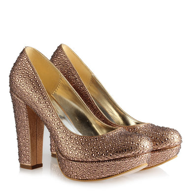 Women's Gemmed Copper Heeled Shoes
