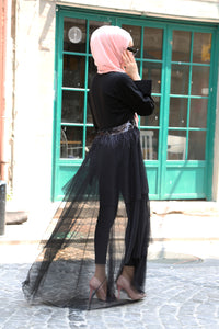 Women's Tulle Detail Black Abaya