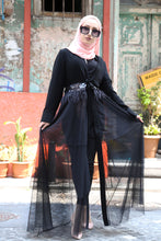 Load image into Gallery viewer, Women's Tulle Detail Black Abaya
