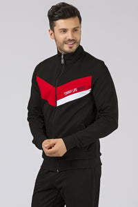 Men's Pocket Black Sweat Suit- 2 Pieces