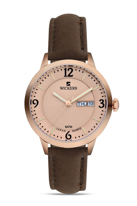 Women's Metal Case Brown Strap Watch