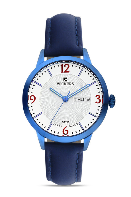 Women's Metal Case Navy Blue Leather Watch