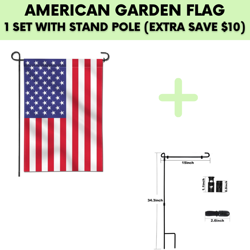 AMERICAN GARDEN FLAG (1 SET WITH STAND POLE)