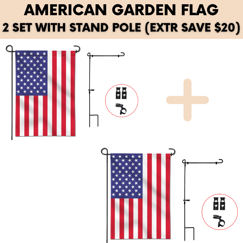 AMERICAN GARDEN FLAG (2 SET WITH STAND POLE)