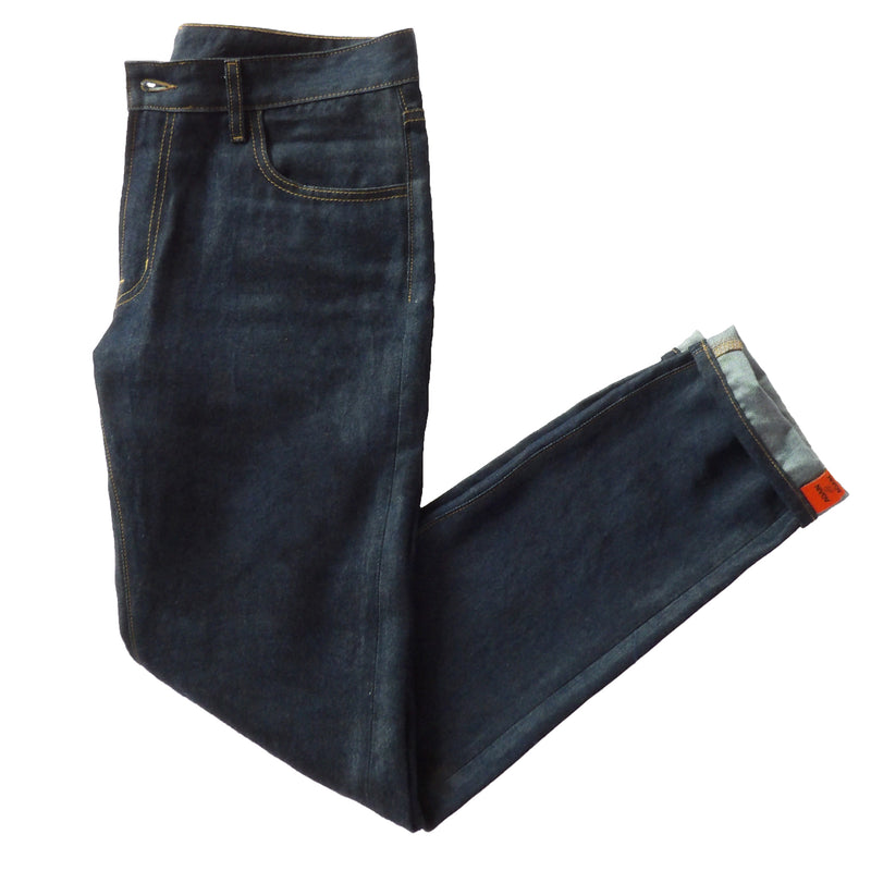 picture of folded dark wash again&again jeans showing distinctive cuff detailing